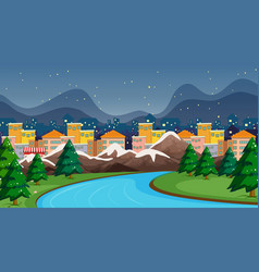 Town scene with river and snow vector