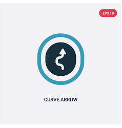 two color curve arrow icon from user interface vector image