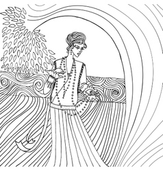 Uncolored Beautiful fashion woman Retro style vector image