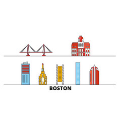 united states boston city flat landmarks vector image