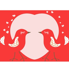 Valentines day card with birds and heart vector image