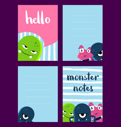 Vertical note cards set with cute monsters vector