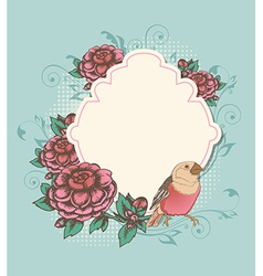 Vintage label with pink roses and bird vector
