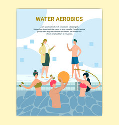 Water aerobics class in swimming pool poster vector