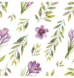 Watercolor seamless pattern with eucalyptus vector