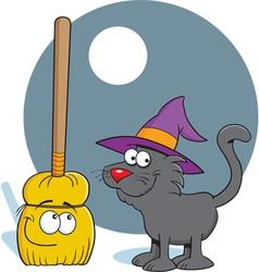 Cartoon Broom and Cat vector image vector image