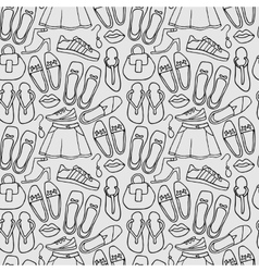 Clothes and shoes outline pattern doodle vector image vector image