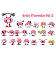 Set of Brain Cartoon Character Two vector image