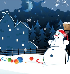 Snowman and scattered Christmas decorations vector image