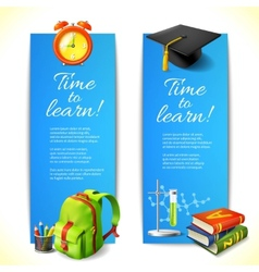 Time to learn vertical banners vector image vector image