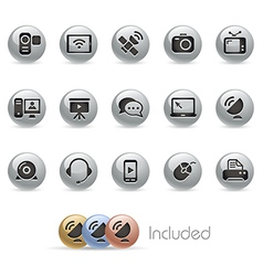 Communication Icons MetalRound Series vector image