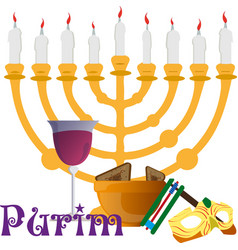 design solutions for the purim holiday treats and vector image