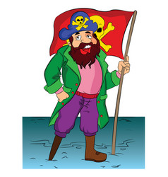 Pirate holding a flag vector