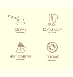 Set of coffee accessories icons with letter sign vector