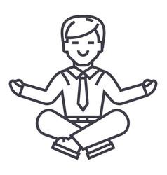 businessman meditation line icon sign vector image