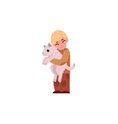 cartoon boy teen kid hugging dog vector image vector image