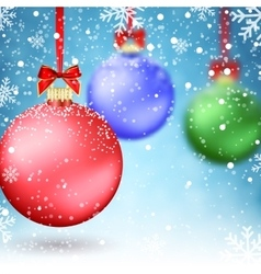 Christmas Balls and Blur Xmas Baubles vector image vector image