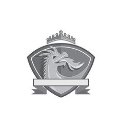 Dragon Breathing Fire Crown Shield Retro vector image vector image