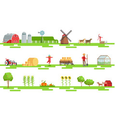 farm related elements in geometric style set of vector image vector image