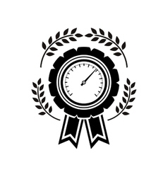 monochrome medal speedometer with olive branchs vector image vector image