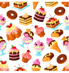 pastry dessert cakes seamless pattern vector image vector image