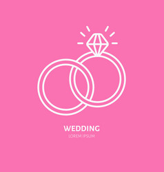 wedding or engagement rings line icon logo vector image