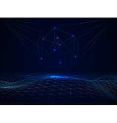 Abstract cyberspace grid waves vector image vector image