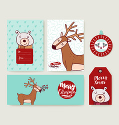 christmas holiday greeting card animal cartoon set vector image vector image