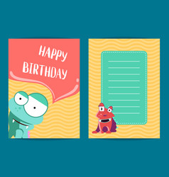 happy birthday card template with cute vector image