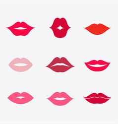 lips icon set vector image vector image