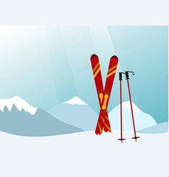 Mountain landscape with red skiing equipment in vector