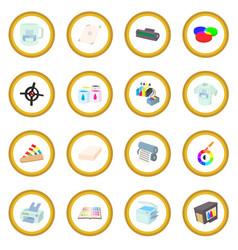 printing icon circle vector image