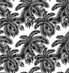 Seamless black and white palm leaves and fru vector image vector image