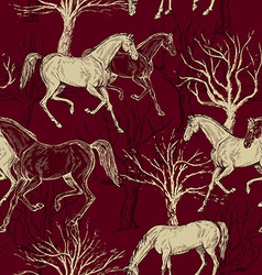 Vintage background with horses and trees vector image vector image