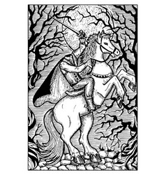 03 the headless horseman engraved fantasy vector