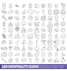 100 hospitality icons set outline style vector