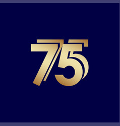75 years anniversary celebration blue gold vector