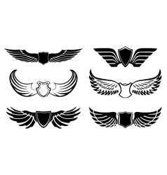 Abstract feather wings pictograms set vector image