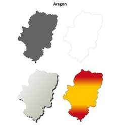 Aragon blank detailed outline map set vector