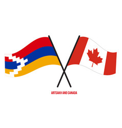 Artsakh and canada flags crossed and waving flat vector
