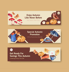 banner template with autumn daily concept design vector image