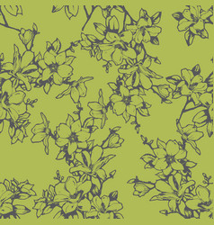 beautiful sketchy magnolia twigs seamless vector image