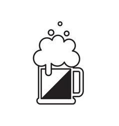 beer mug with foam black beer icon vector image