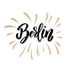 berlin hand drawn lettering on white background vector image