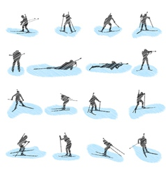 Biathlon silhouette sketch vector