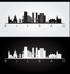 bilbao skyline and landmarks silhouette vector image