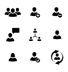black office people icons set vector image