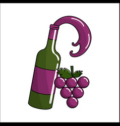 bottle splashing wine with bunch grapes icon vector image