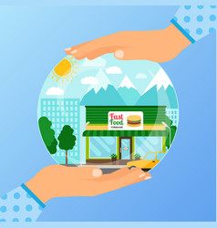 business concept opening fast food restaurant vector image