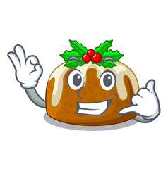 Call me christmas pudding isolated on the mascot vector